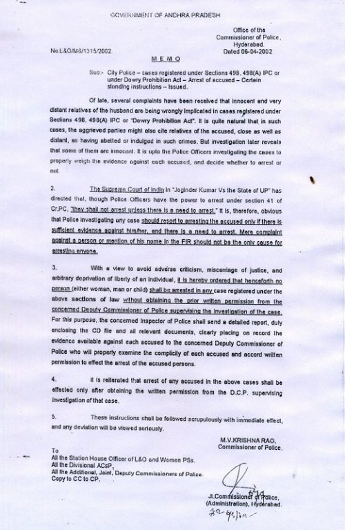 No Arrest Without Permission Of DCP In 498A Cases - 2002