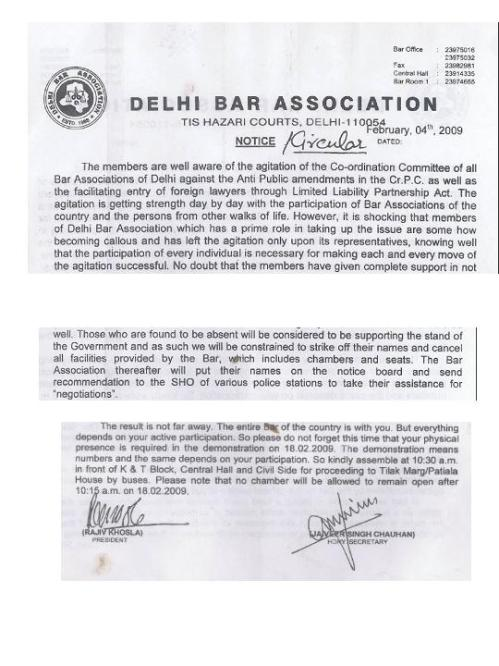 Delhi Bar Association Fatwa - Excerpts