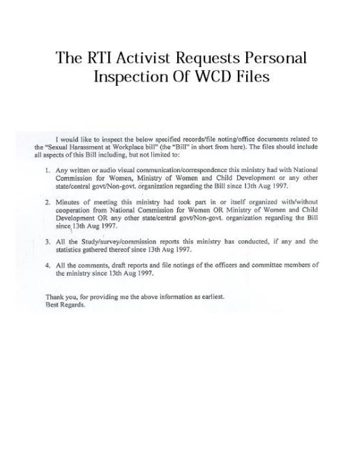 RTI Activist Request For File Inspection